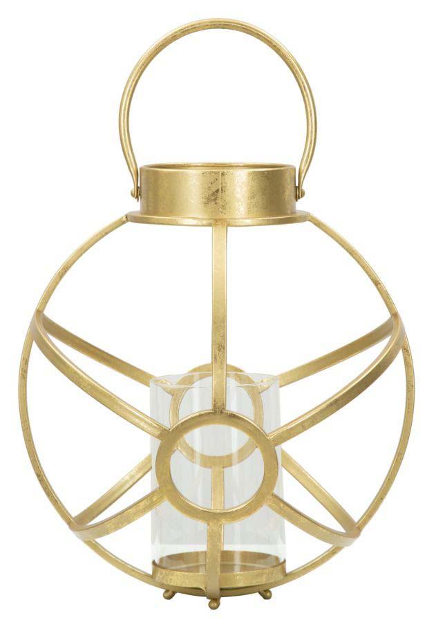 Sfeșnic Glam, 42.5x29x29 cm, metal/ sticla, auriu poza