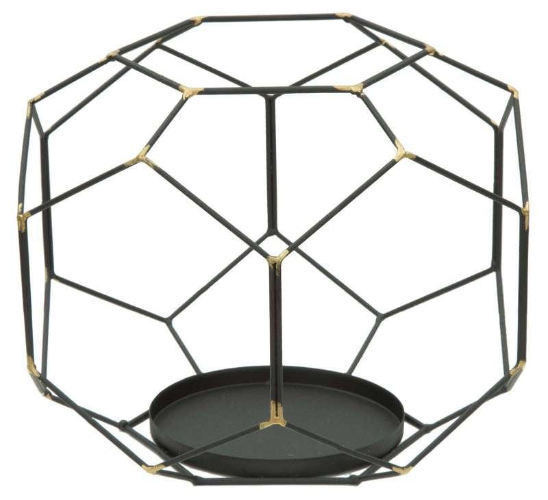 Suport lumânare Bright , 20x24x24 cm, metal, negru/ auriu poza