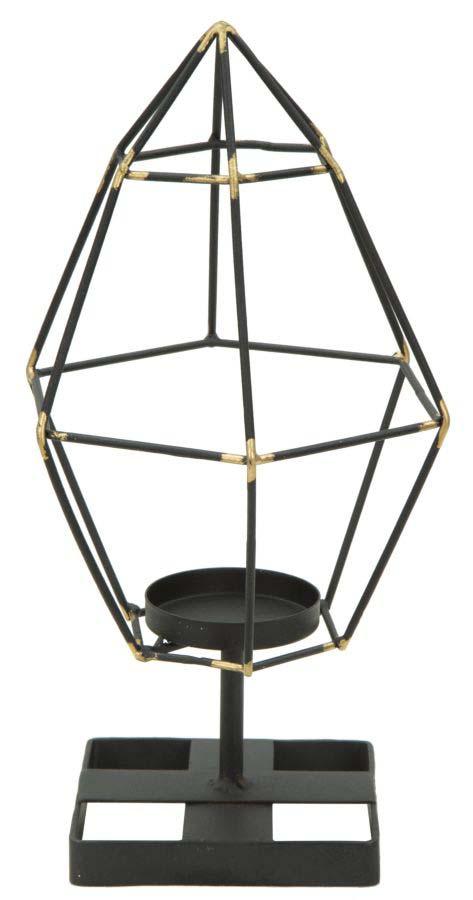 Suport lumânare Bright Piramid, 29x15x13 cm, metal, negru/ auriu poza