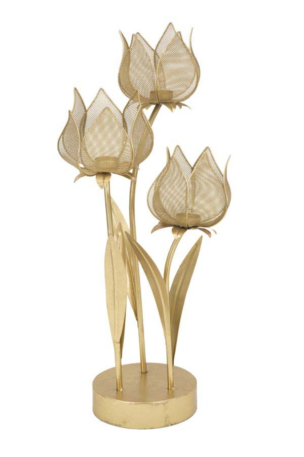 Suport lumânare Flowery, 66x35x27 cm, metal, auriu poza