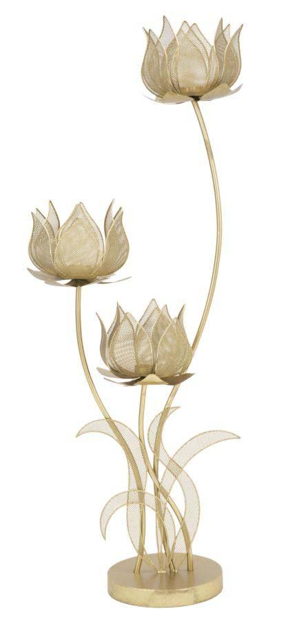 Suport lumânare Flowery, 97x34x19 cm, metal, auriu poza