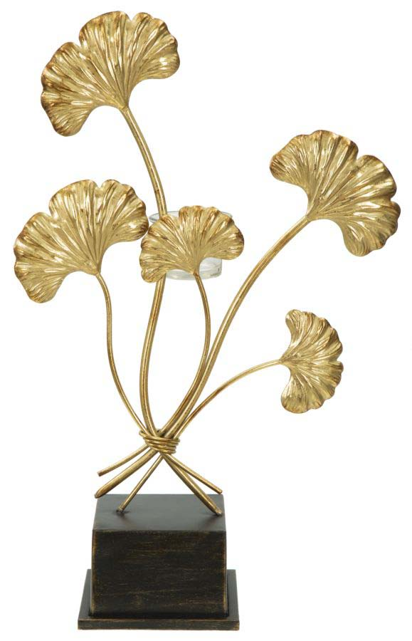 Suport lumânare Glam Iris, 44x29x12.5 cm, metal/ sticla, auriu/ negru poza