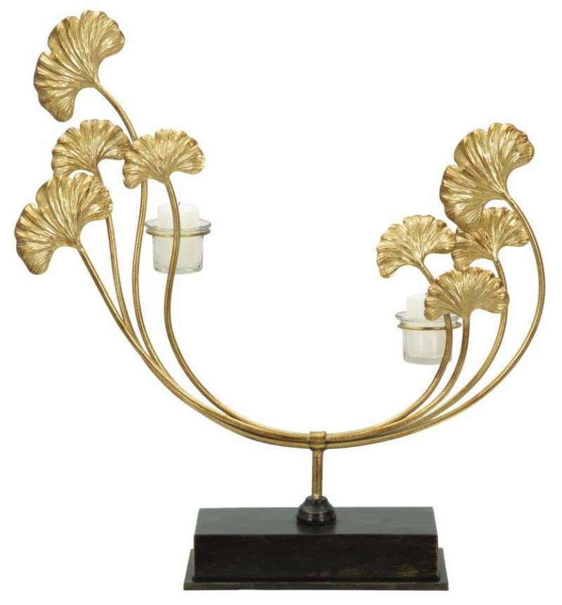 Suport lumânare Glam Iris, 55x50x12 cm, metal/ sticla, auriu/ negru poza