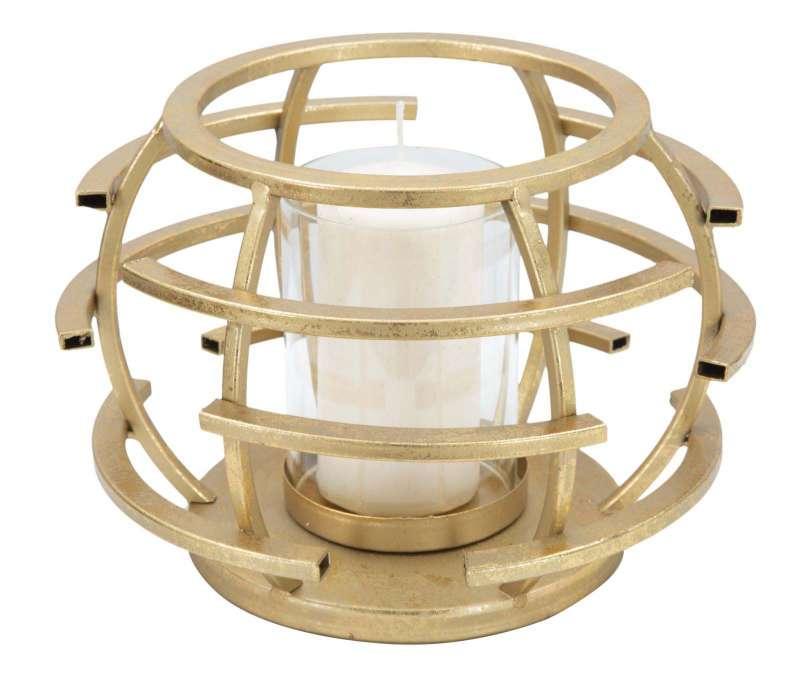 Suport lumânare Glam Stick, 14x20x20 cm, metal/ sticla, auriu poza
