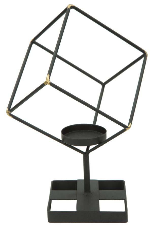 Suport lumânare Square, 27x17x10 cm, metal, negru/ auriu poza