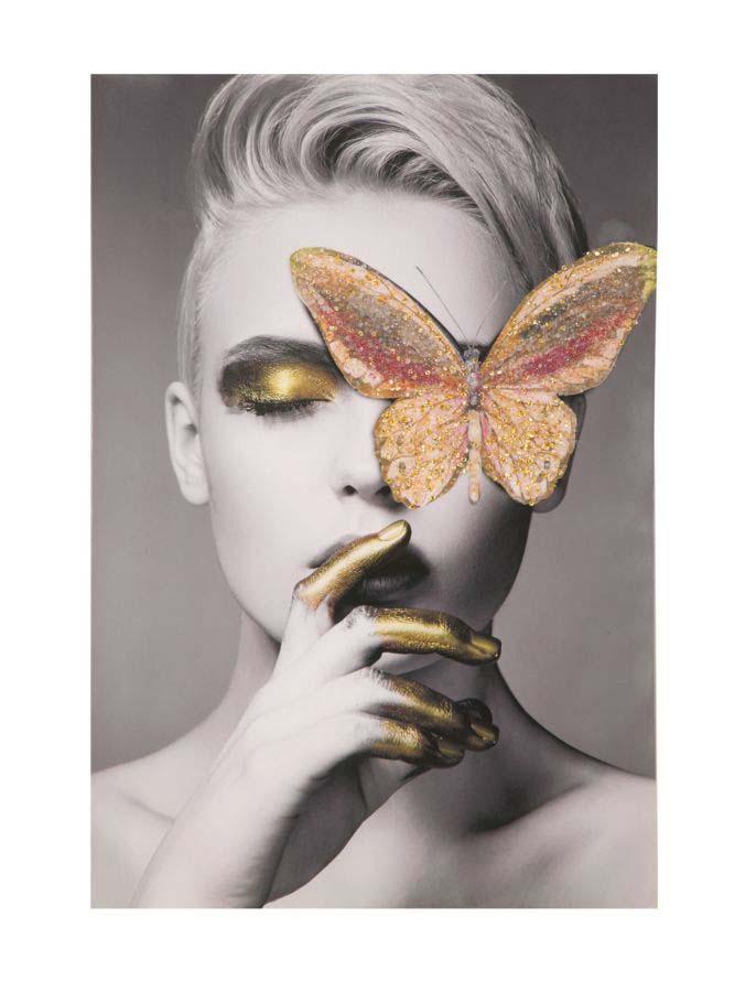 Tablou Butterfly cu aplicații, 120x80x3.8 cm, lemn de brad/ canvas, multicolor poza