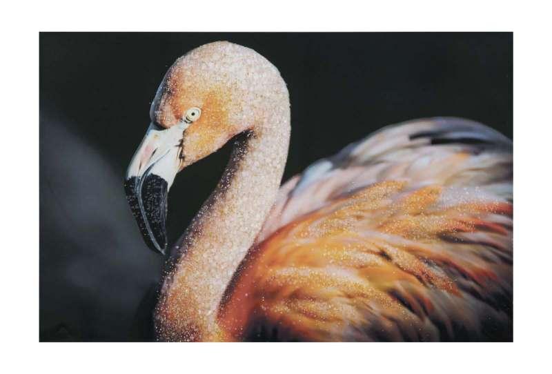 Tablou Flamingo cu aplicații, 80x120x3.8 cm, lemn de brad/ canvas, multicolor poza