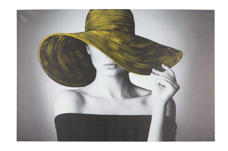 Tablou Hat cu aplicații, 80x120x3.8 cm, lemn de brad/ canvas, multicolor poza