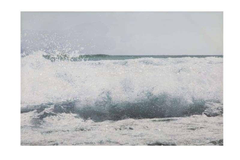 Tablou Seascape cu aplicații, 80x120x3.8 cm, lemn de brad/ canvas, multicolor poza