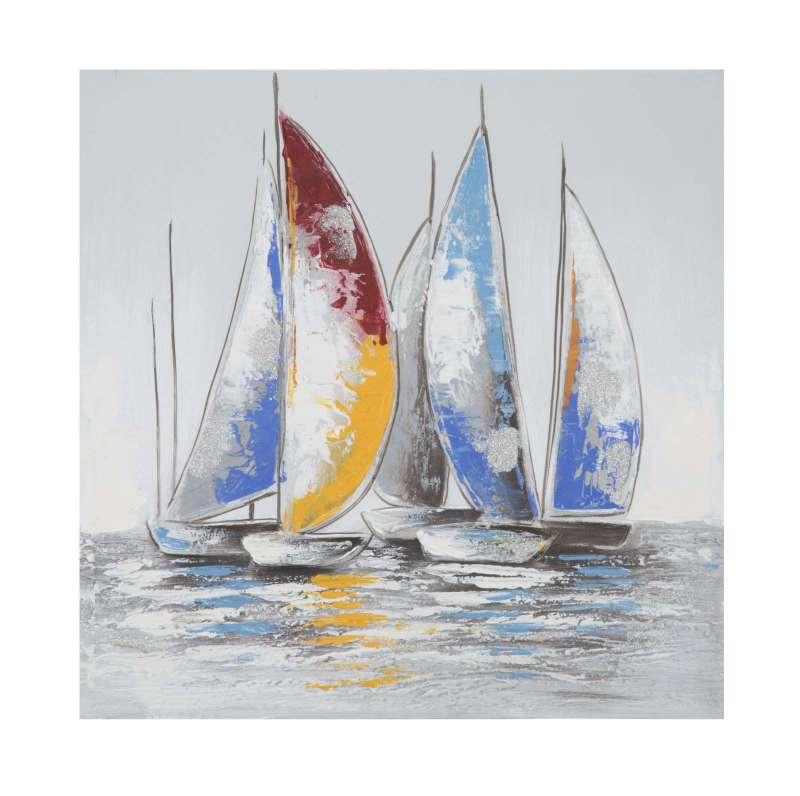 Tablou Vela, 60x60x3 cm, lemn de pin/ canvas, multicolor poza