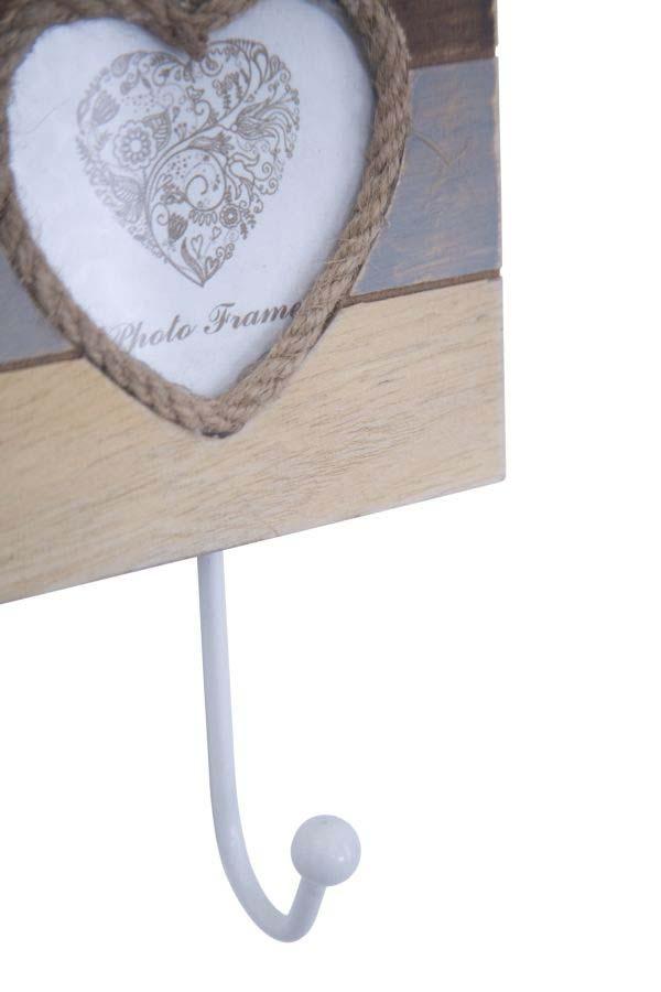 Cuier cu ramă foto Lignes B, 19x12x4.5 cm, mdf/ sticla/ metal, alb/ maro/ gri