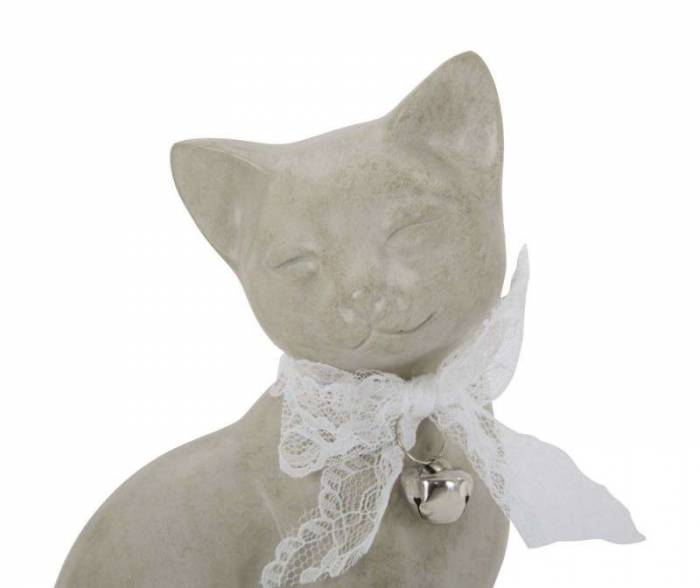 Decorațiune Cat, 20.5x12.5x11 cm, polirasina, alb