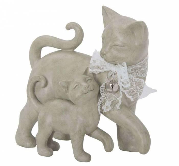 Decorațiune Cat and Puppy, 17.5x19x9.5 cm, polirasina, alb