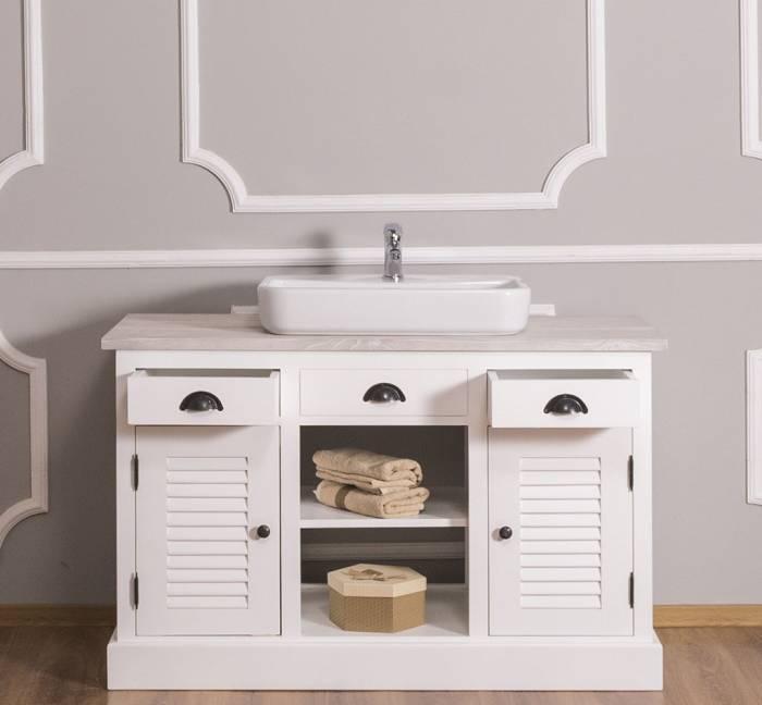 Dulap de baie cu uși, sertare și poliță Austral, lemn masiv