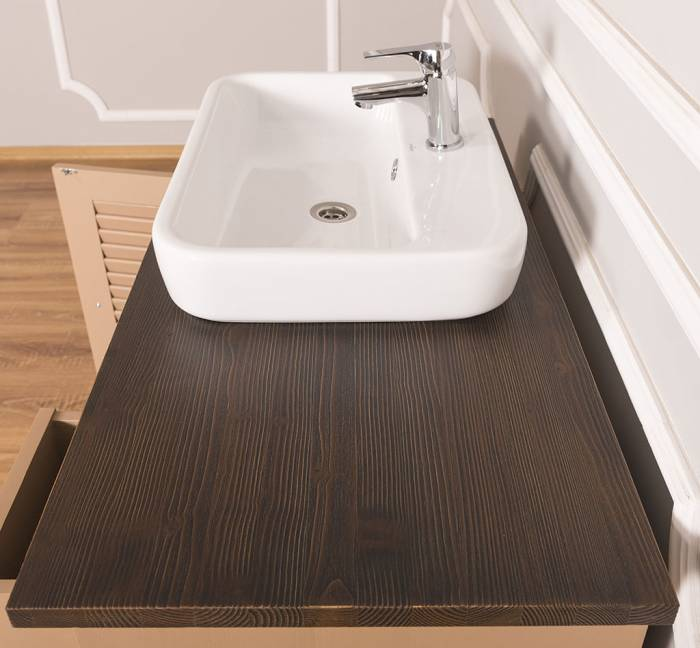 Dulap de baie cu uși și sertare Austral, lemn masiv