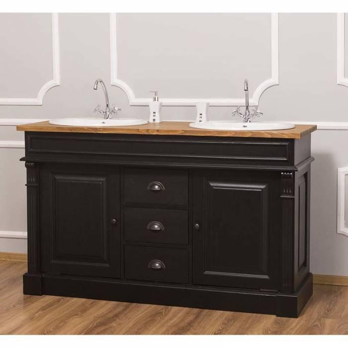 Dulap de baie pentru două lavoare Cardon, lemn masiv