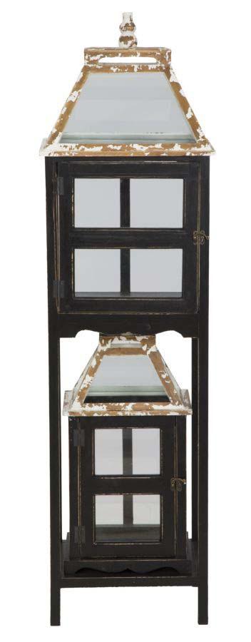 Felinar Hut, lemn de brad/ sticla, multicolor
