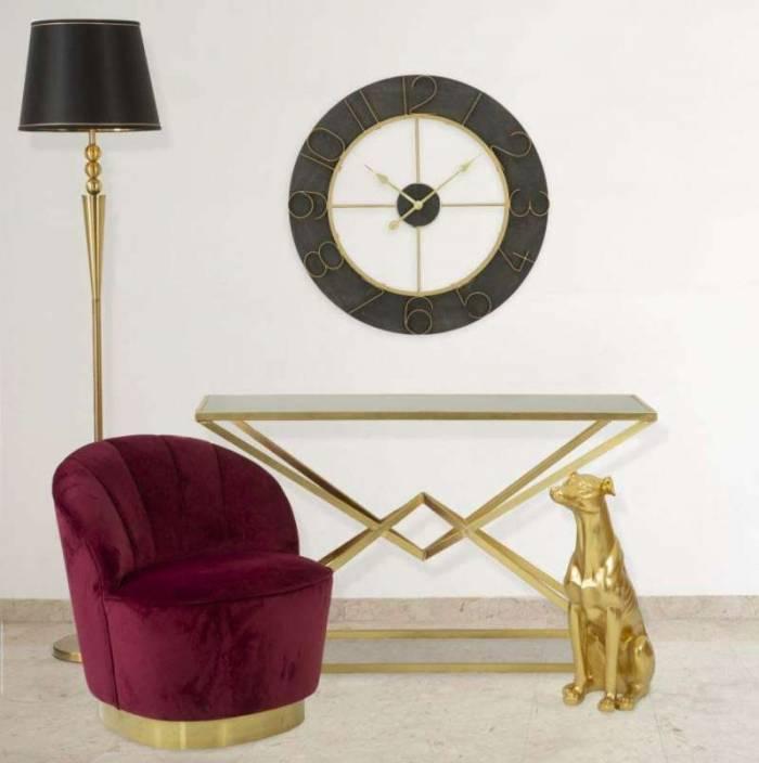 Lampadar Stilo Glam, 183x40x40 cm, meta/ plastic/ poliester, negru/ auriu