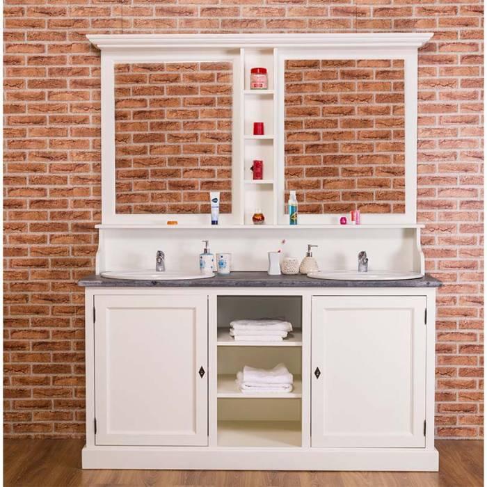 Set mobilier baie pentru două lavoare Cardon, lemn masiv