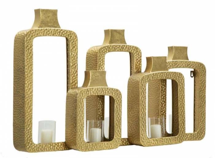 Suport lumânare Bot, 50x79x16.5 cm, metal/ sticla, auriu