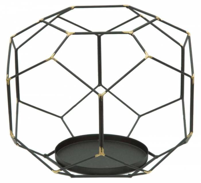 Suport lumânare Bright , 20x24x24 cm, metal, negru/ auriu