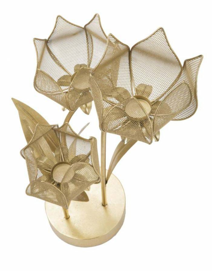 Suport lumânare Flowery, 66x35x27 cm, metal, auriu
