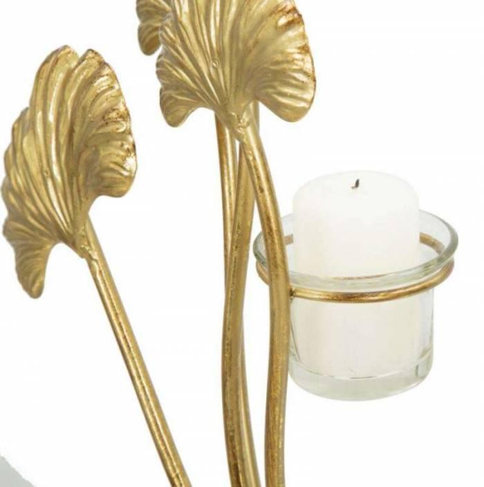 Suport lumânare Glam Iris, 55x50x12 cm, metal/ sticla, auriu/ negru