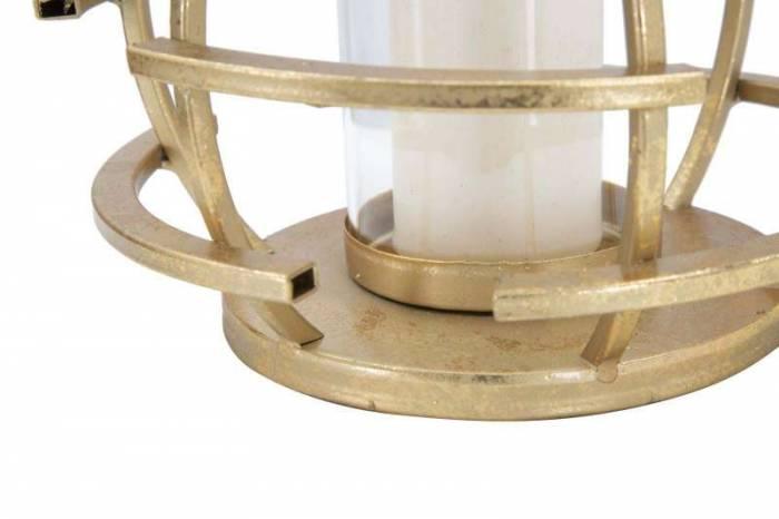 Suport lumânare Glam Stick, 14x20x20 cm, metal/ sticla, auriu