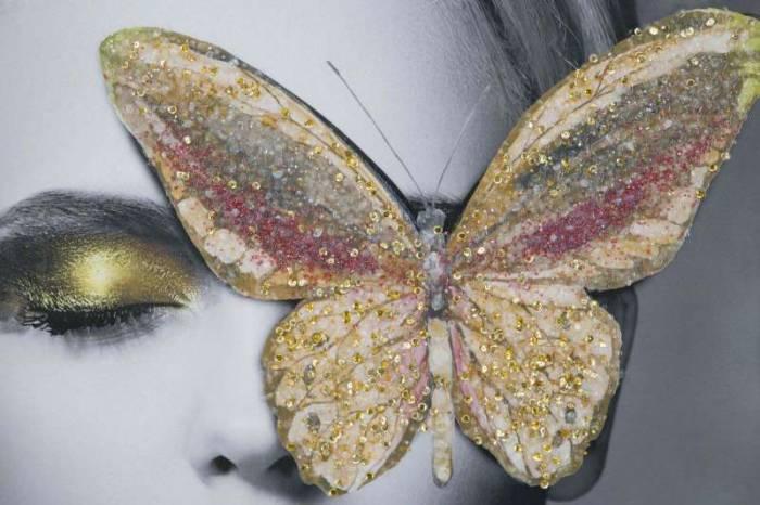 Tablou Butterfly cu aplicații, 120x80x3.8 cm, lemn de brad/ canvas, multicolor