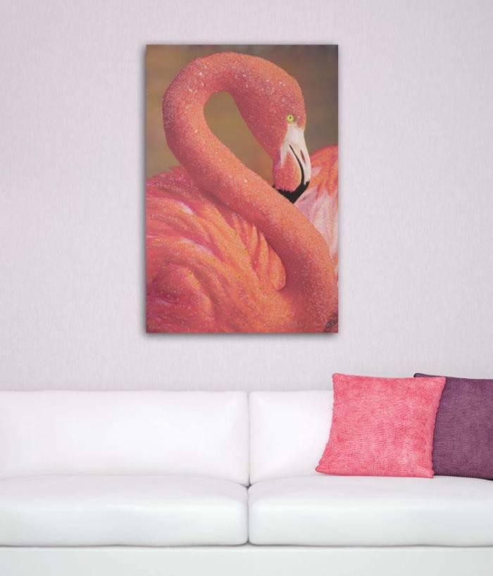 Tablou Flamingo cu aplicații, 120x80x3.8 cm, lemn de brad/ canvas, multicolor