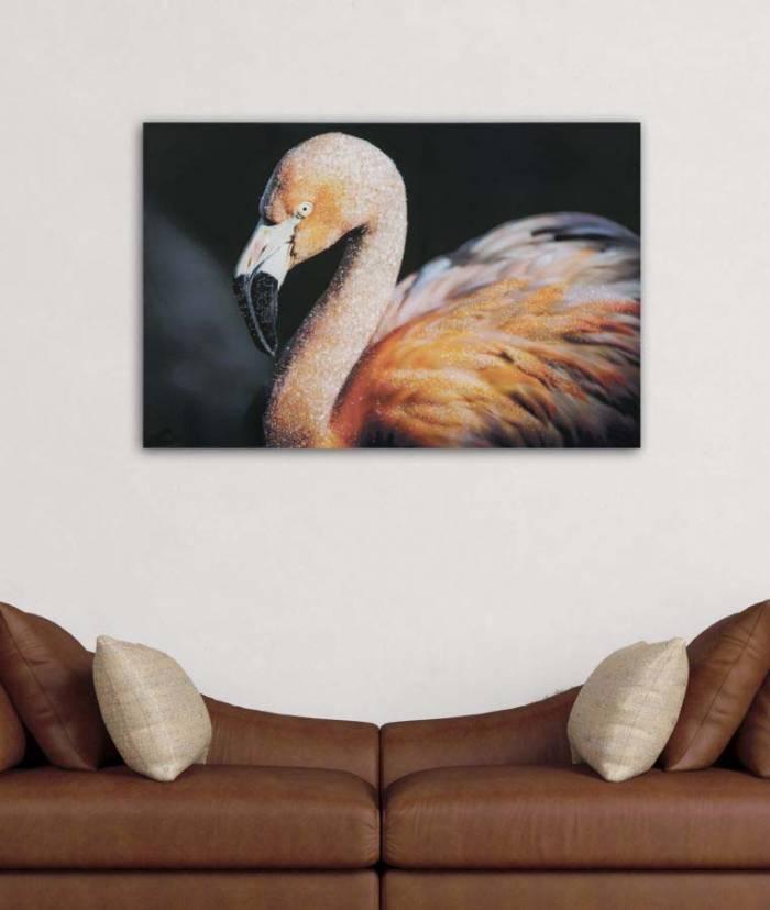Tablou Flamingo cu aplicații, 80x120x3.8 cm, lemn de brad/ canvas, multicolor