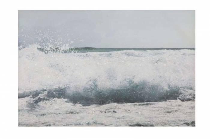 Tablou Seascape cu aplicații, 80x120x3.8 cm, lemn de brad/ canvas, multicolor