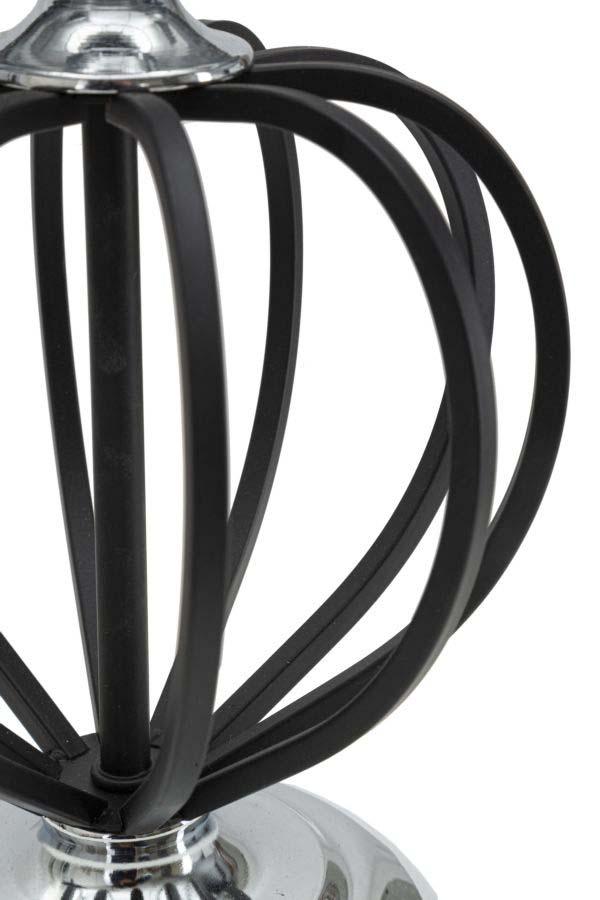 Veioză Dark Silver, 44,5x28x28 cm, metal/ pvc/ textil, negru/ argintiu