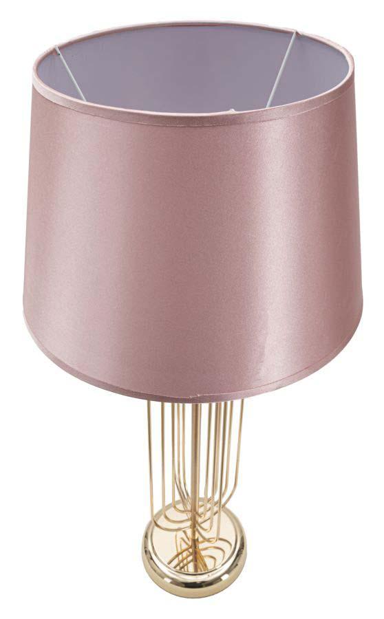 Veioză Krista, 64x33x33 cm, metal/ pvc/ textil, auriu/ roz