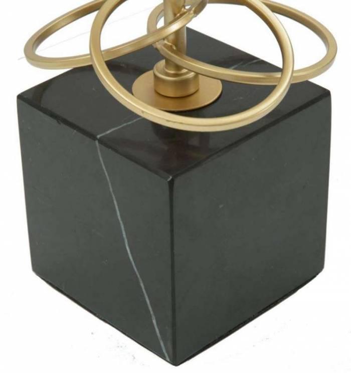 Veioză Rings, 62x35x35 cm, metal/ plastic/ marmura/ poliester, negru/ auriu