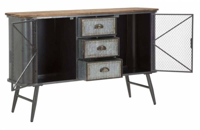 Bufet Lewis, 77x120x35 cm, metal/ lemn de brad, negru/ gri/ maro