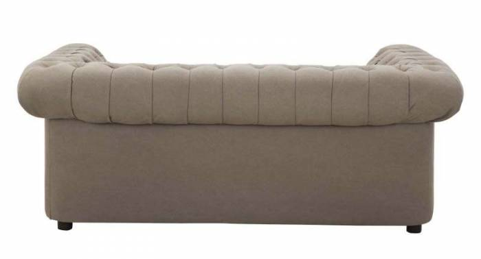 Canapea capitonată Chester, 71x175x97 cm, pu/ lemn/ textil, maro