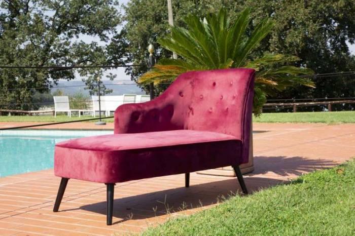 Canapea sofa Josefa, 90x132x62 cm, lemn/ catifea, bordo/ negru