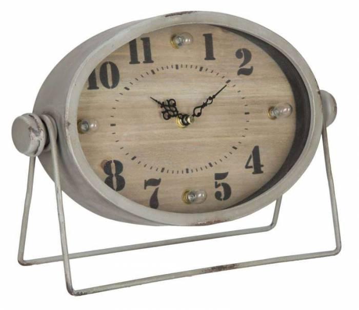 Ceas de masă Bianca, 22x31x11 cm, mdf/ metal/ sticla, gri