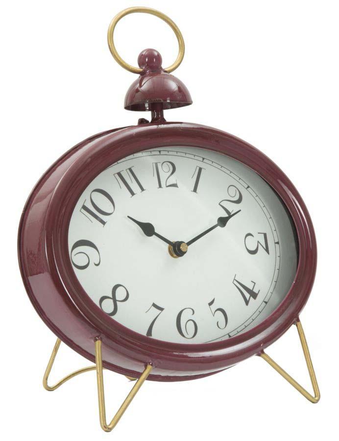 Ceas de masă Tory, 33.5x28.5x5.5 cm, metal/ sticla, bordo/ auriu