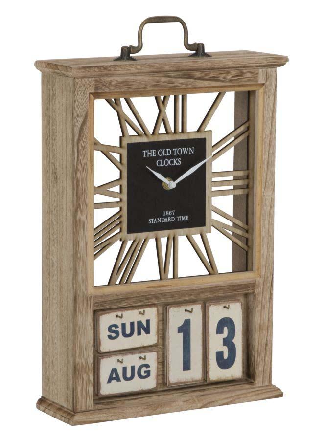 Ceas de masă Travel, 43x27x9 cm, mdf/ metal, maro/ negru