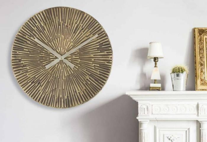 Ceas de perete Bertie, 50x50x3,5 cm, metal, bronz