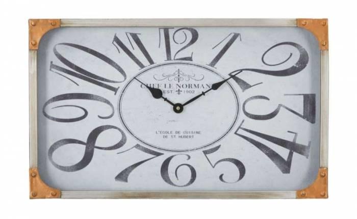 Ceas de perete Bettina, 30x50x6 cm, metal/ sticla, gri/ alb/ cupru