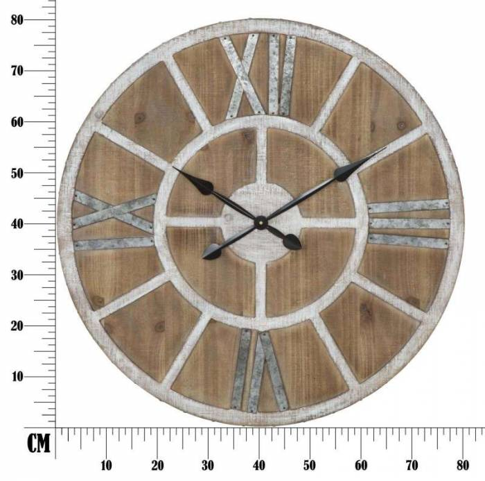 Ceas de perete Loxy, 80x80x6.5 cm, mdf/ metal, alb/ maro