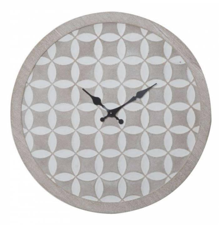 Ceas decorativ Belkis, 30x30x2 cm, mdf, alb/ gri