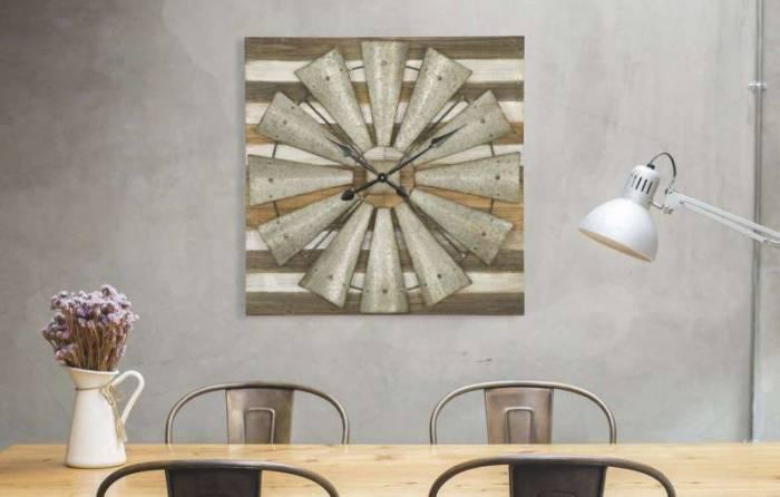 Ceas decorativ Bess, 80x80x7 cm, lemn de brad/ mdf/ metal, maro