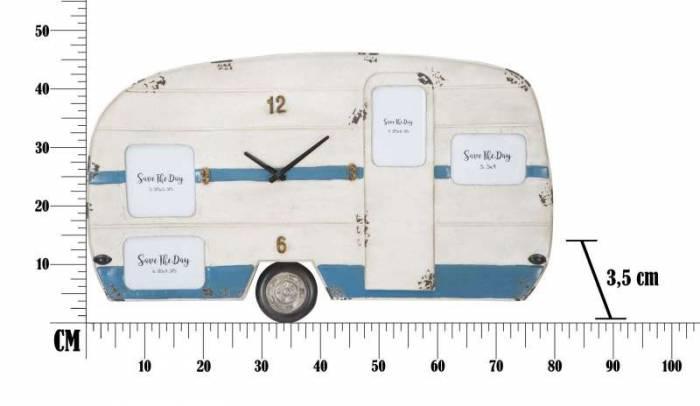 Ceas decorativ Betsey, 46,5x79x3,5 cm, metal, alb/ albastru