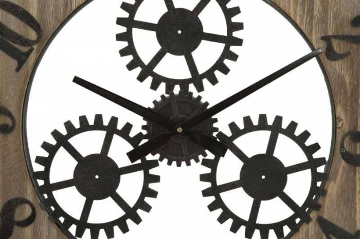Ceas decorativ Bettie, 60x60x4 cm, metal/ mdf, negru/ maro