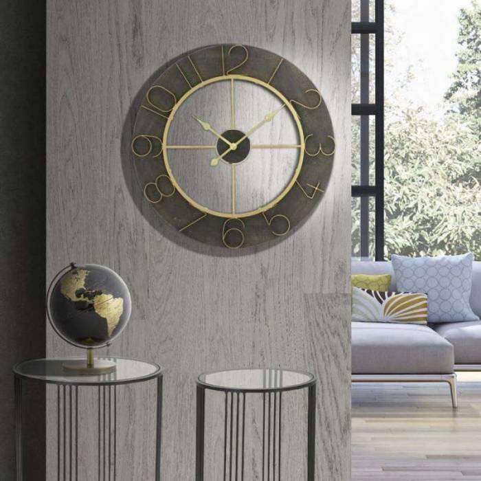 Ceas decorativ Blake, 70x70x5 cm, metal/ mdf, negru/ auriu