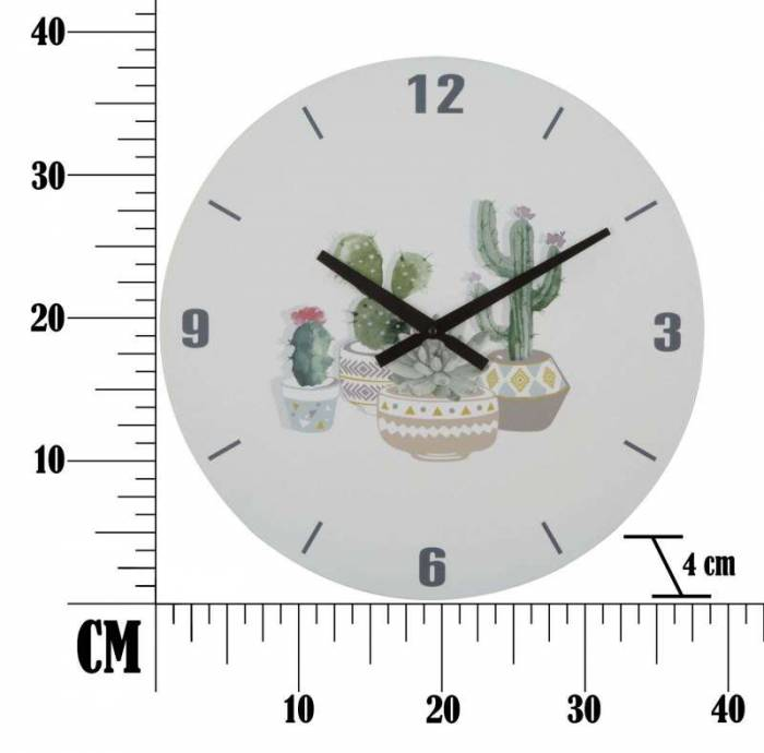 Ceas decorativ Cactus, 38x38x4 cm, mdf, alb